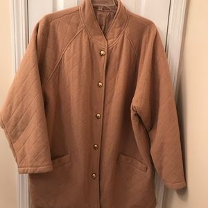 Woman's Camel colored quilted car coat .